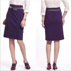 Anthro Girls From Savoy Velvet Trim Pencil Skirt